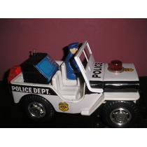 Jeep Policia Radar A Pila Japon Decada 70 Juguetes Devoto