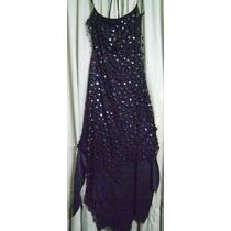 Vestido Gaza Negro De Noche C Lentejuelas!nuevo!
