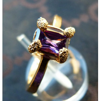 Anillo Oro 14k Gold Filled Con Amatista Purpura De Sri Lanka