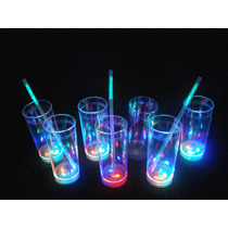100 Vasos Luminosos 3 Led Cotillon Eventos Fiestas Luces