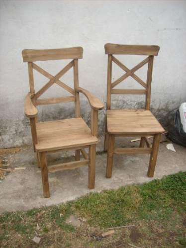Sillas para mesa r sticas estilo campo madera maciza for Sillas de madera rusticas