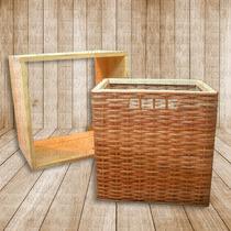 Cestos De Mimbre Con Cubo Apilable -grande- Koalo Muebles