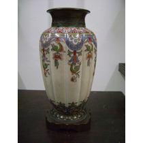 Antiguo Florero De Porcelana Y Bronce
