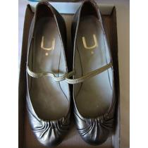 Uma Zapatos Cuero Dorados Unicos! 35/36