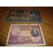 Billete De 50 Pesetas Año 1928 Y Otro De 1000 Tausend $100