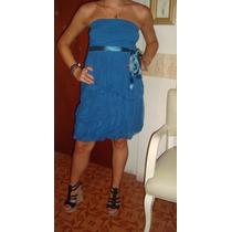 Vestido Noche Fiesta Strapless Tul Rosa Azul Verde