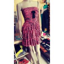 Vestido Modal Strapless Cebra Animal Print Mujer