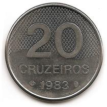 Brasil Moneda De 20 Cruzeiros Del Año 1983 Km#593 Acero