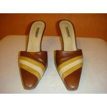 Piccadilly Zapatos Stilletto Sin Talon Nro 36 Cuero Marron
