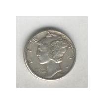 Moneda De Estados Unidos 10 Centavos Plata Mercury Año 1944
