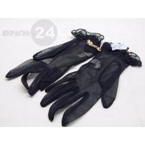 Guantes P/dama Cortos De Jersey De Nylon Color Negro Nuevos