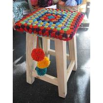 Funda Tejida Al Crochet Para Banquito Cuadrado Con Pompones
