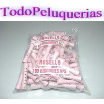 100 Bigudies Plasticos Huecos N°5 + Gomitas Marca Rossello