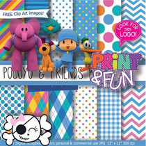 Kit Imprimible Pack Fondos Pocoyo Clipart