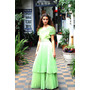 Vestido De Fiesta Años 70. Color Verde Agua. Talle: 42/44