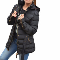 Campera De Abrigo Larga Negra Mujer The Big Shop