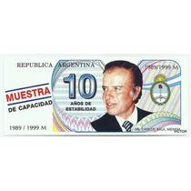 Diez Pesos Trucho De Menem S/ Circular Ni Doblado