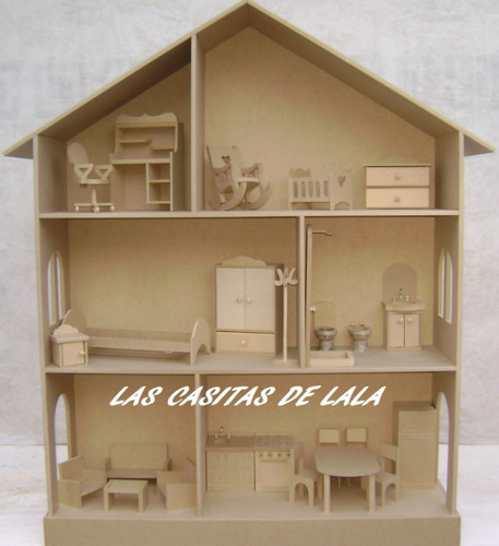 Casita Mu Ecas Barbie Con Muebles