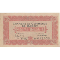 Billete Chambre De Commerce De Nancy 50 Centimes. Francia