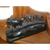 Antiguo Elefantes Tallados En Madera De Ebano