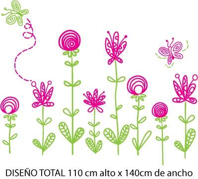 Vinilos decorativos stickers nenas mariposas flores for Vinilos para nenas