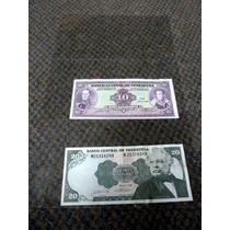 Lote 2 Billetes 10 - 20 (1990) Bolivares Venezuela