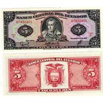 Billete De Ecuador De 5 Sucres Del Año 1988 Sin Circular