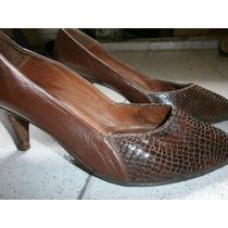 Zapatos Cuero De Vaca Y Reptil Forrados*$140*impecables!