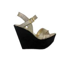 Zapato Con Tiras Cruzadas- Croco Bronce Con Plataforma