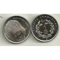 Moneda Turquia Año 2014 Bimetalica 1 Lira Fauna Erizo