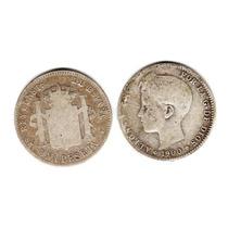 Moneda España De Plata Año 1900 De 1 Peseta Buena