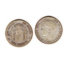 Moneda España De Plata Año 1901 De 1 Peseta Alfonso Xiii