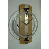 Moderno Reloj De Pared 25 Cm Diámetro Base De Madera