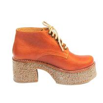 Zapatos Borcegos Acordonados Plataforma Goma Suela Cuero
