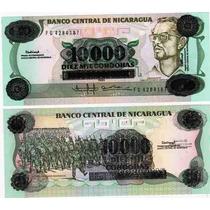 Billete Nicaragua 10.000 Cordobas Sobrecargado 10 Cordobas