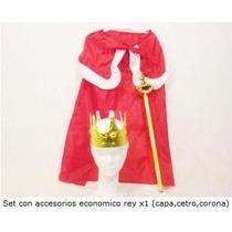 Disfraz Set Capa De Principe Rey Con Cetro Y Corona
