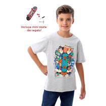 Remera Con Mini Skate De Regalo Manga Corta Algodon Pecosos