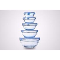 Set 5 Bowls De Vidrio Con Tapa - Varios Colores Levysbazar