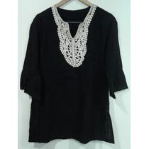 Blusa Importada Negra Con Aplique Tejido Blanco Talle 2 (na)