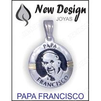 Dije Medalla Papa Francisco Plata Maciza 925 Y Oro 24 Mm