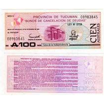 Billete Bono Tucuman 100 Australes Año 1991 Sin Circular