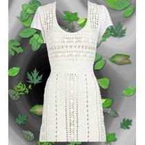 Vestido Con Mangas Tejido A Crochet Largo A La Rodilla