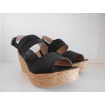 Zapato Mujer Sandalias Taco Chino Dos Tiras Color Negro