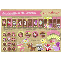 Kit Cumpleaños Animales Del Bosque Nena