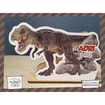 Servilletero Evento Personalizado Madera Dinosaurios T Rex