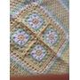 Manta Tejida A Mano Crochet 68*68 Cm Verde Amarillo