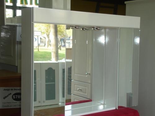 Muebles Para Baño Laqueados:Botiquin Con Espejo Triptico Para Baño Laqueado Luz Peinador