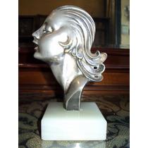 Hermosa Escultura Figura Busto Art Deco De Bronce Y Marmol
