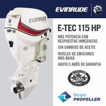 Motor Nautico Fuera De Borda Evinrude Etec 115hp 5 Años Gtia