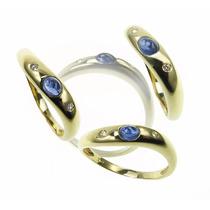 Anillo Wave - Oro Zafiro Y Diamantes - Free Watch Jewellry
